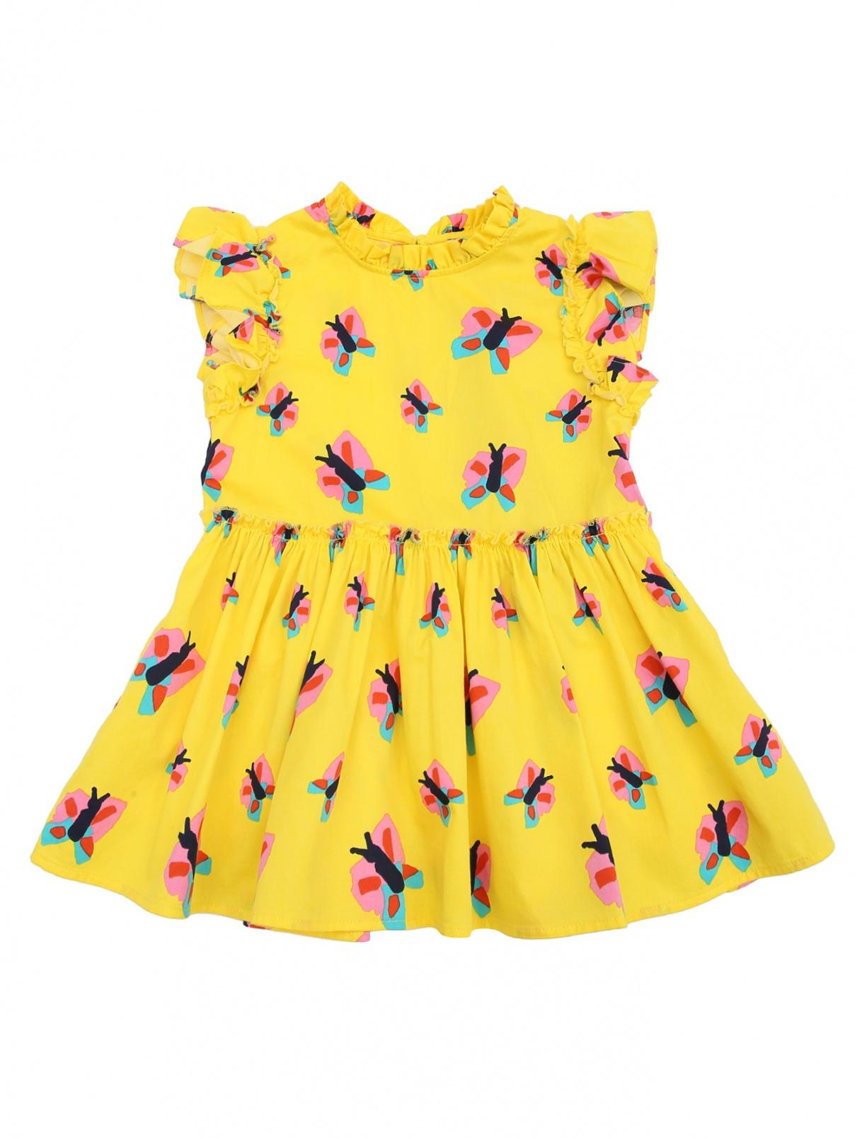 Платье из хлопка с узором Stella McCartney kids  –  Общий вид