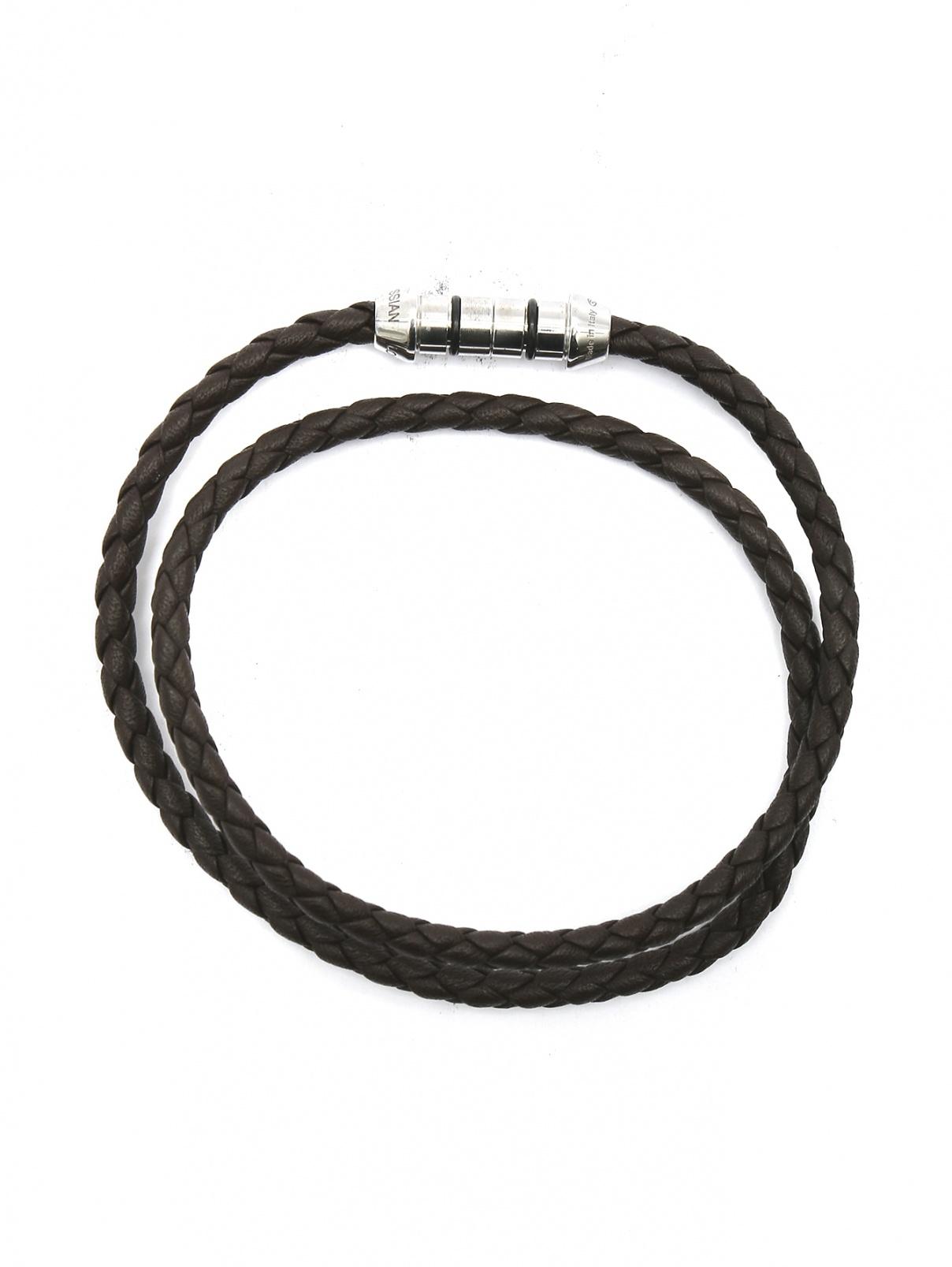 Браслет плетеный из кожи со вставкой из серебра Tateossian  –  Общий вид