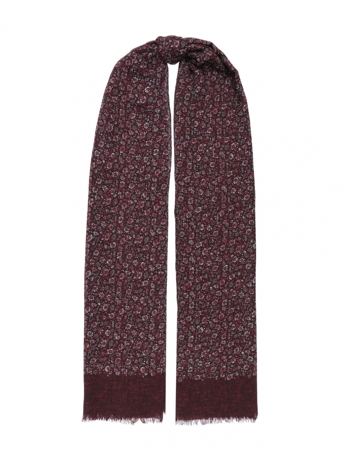 Шарф из кашемира и шерсти с цветочным узором Isaia  –  Общий вид