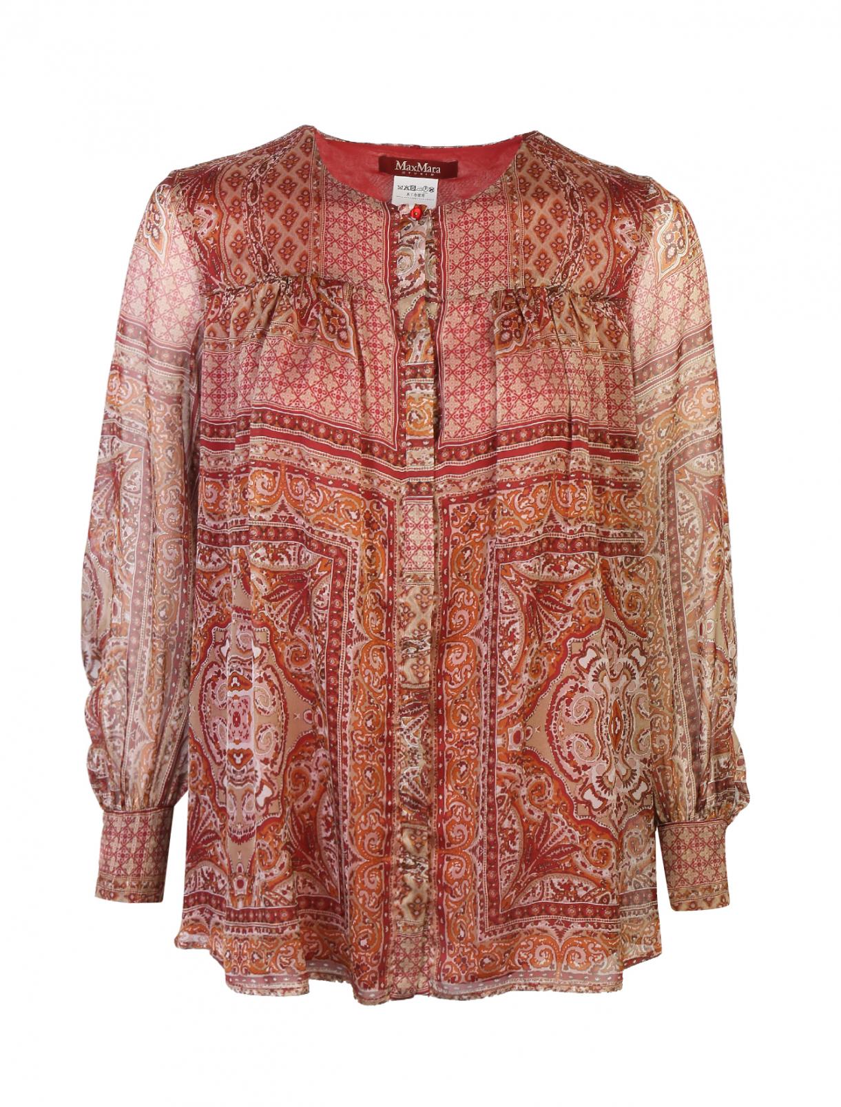 Блуза шелковая с узором Max Mara  –  Общий вид