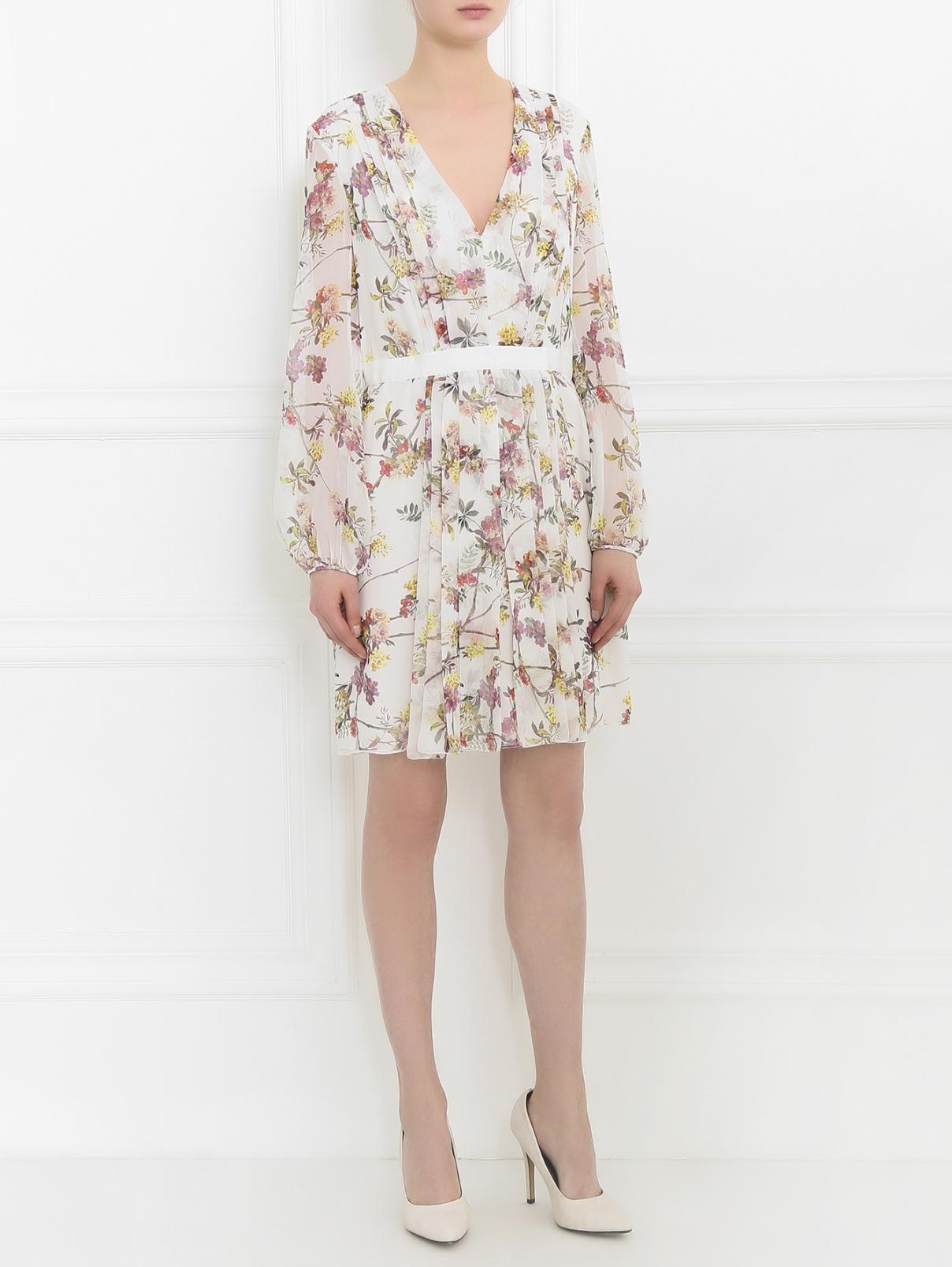 Платье-мини из шелка с цветочным узором Giambattista Valli  –  Модель Общий вид