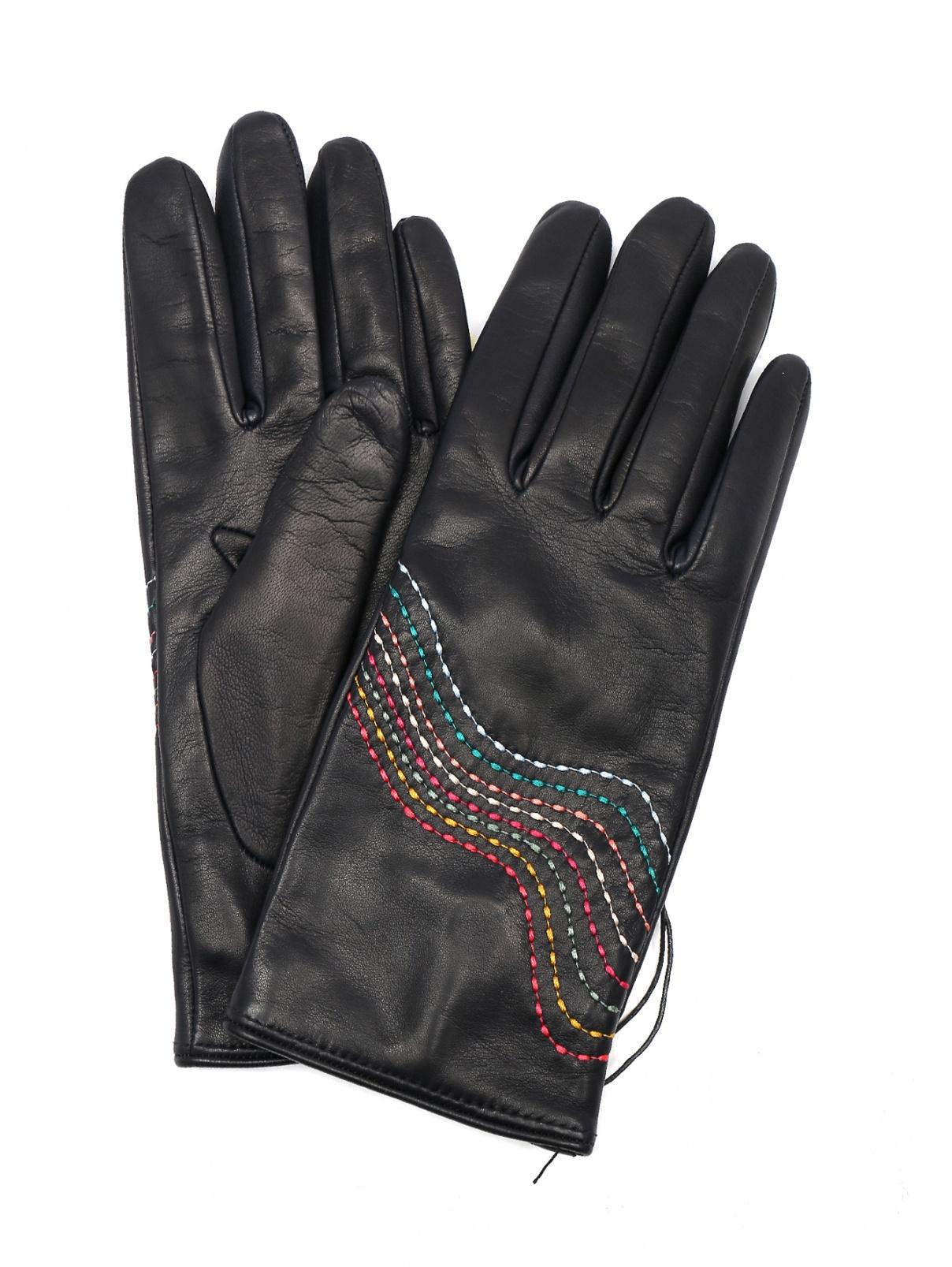 Перчатки кожаные с контрастной строчкой Paul Smith  –  Общий вид