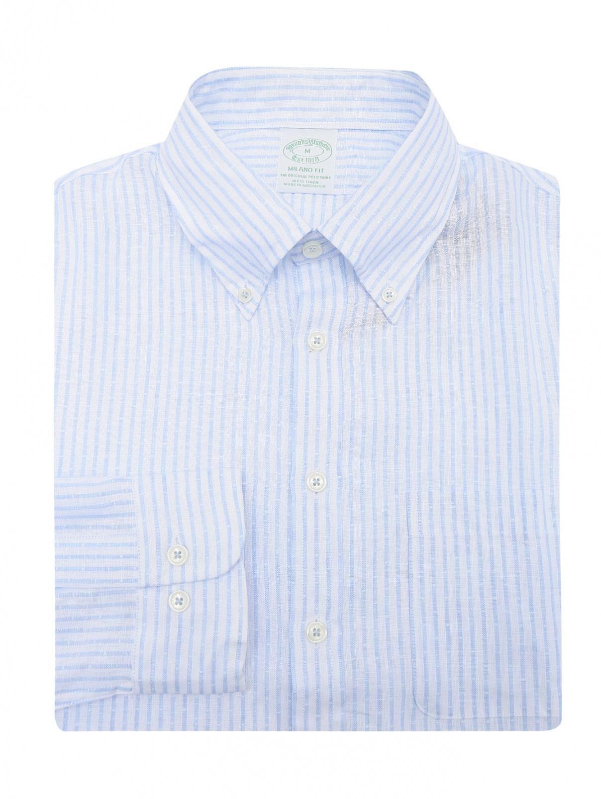 "Рубашка из льна с узором ""полоска"" Brooks Brothers  –  Общий вид"