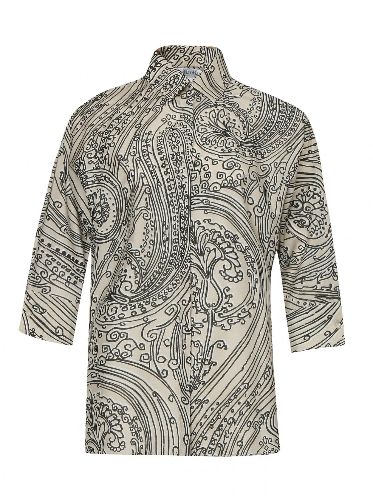 Блуза из хлопка и шелка с цветочным узором Max Mara  –  Общий вид