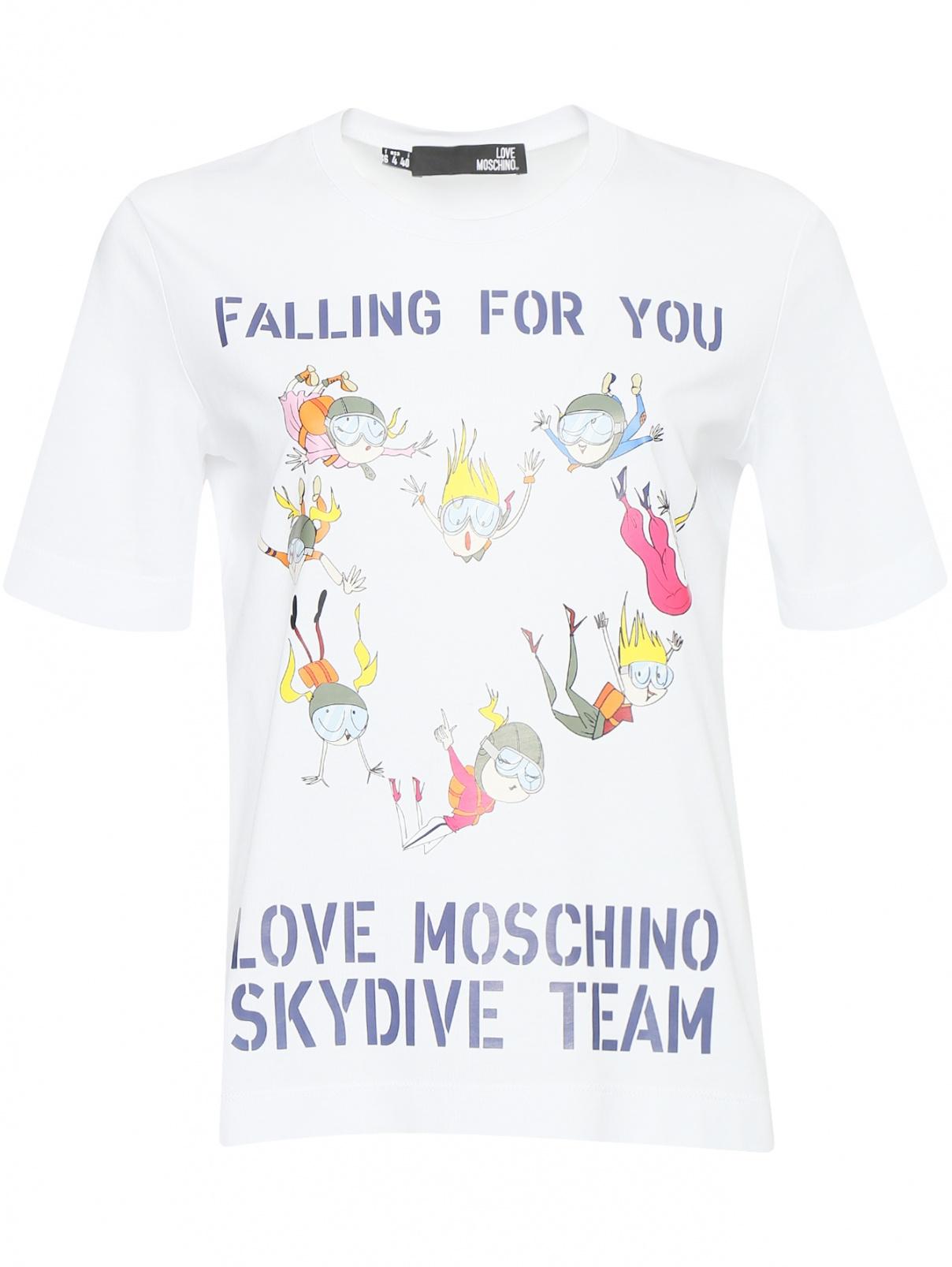 Футболка из хлопка с принтом Love Moschino  –  Общий вид