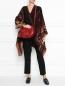 Кожаная сумка на плечевом ремне с металлической фурнитурой Etro  –  МодельОбщийВид