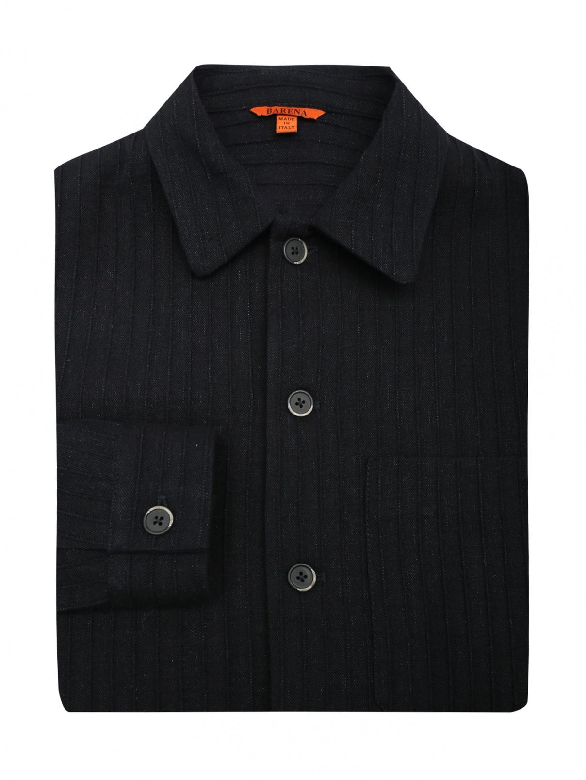 Рубашка изо льна и хлопка с накладным карманом Barena  –  Общий вид