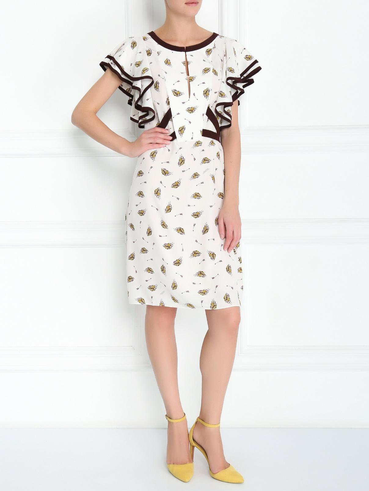 Платье из шелка с узором и контрастной отделкой Dorothee Schumacher  –  Модель Общий вид