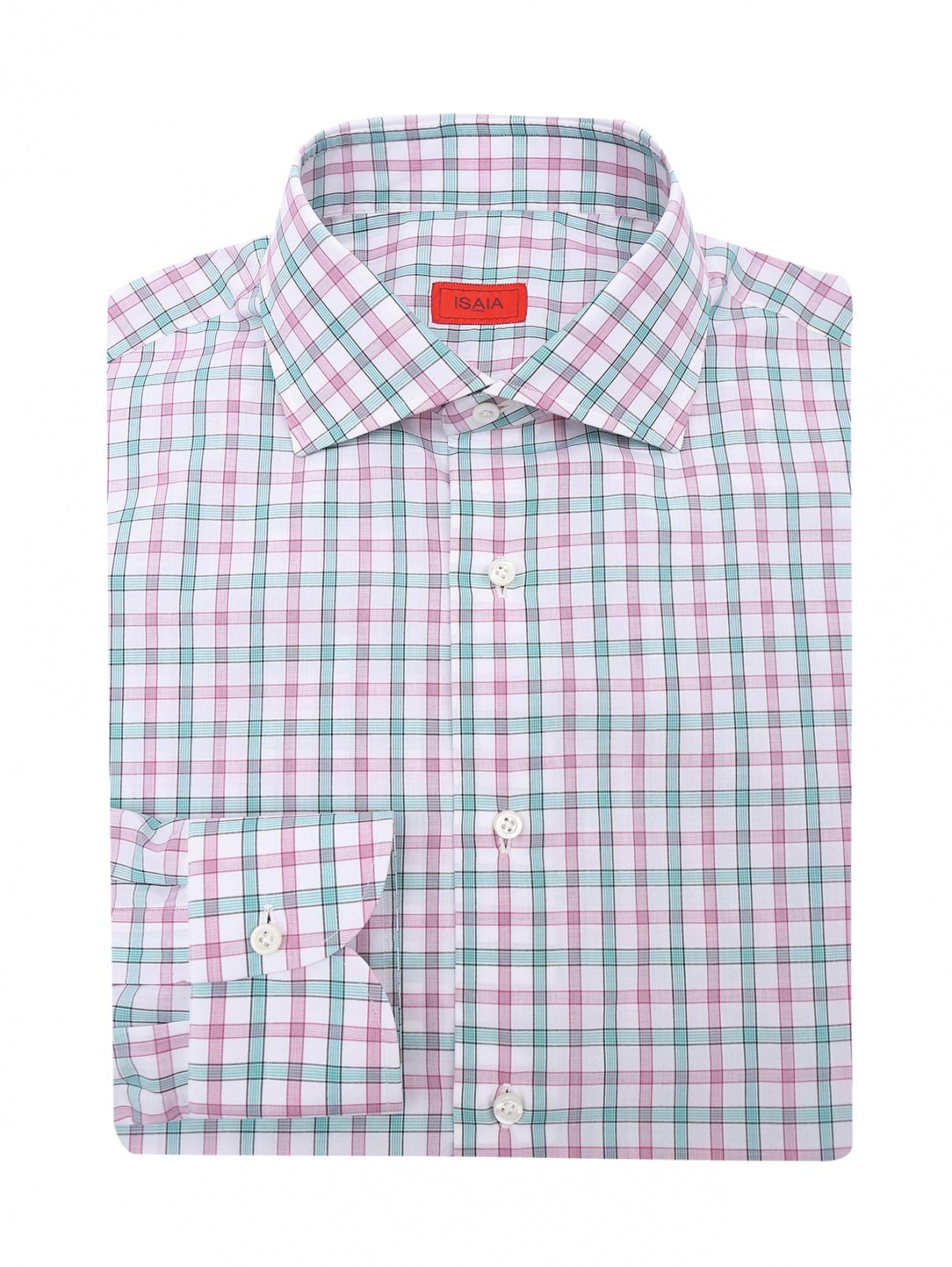 Рубашка хлопковая в клетку Isaia  –  Общий вид