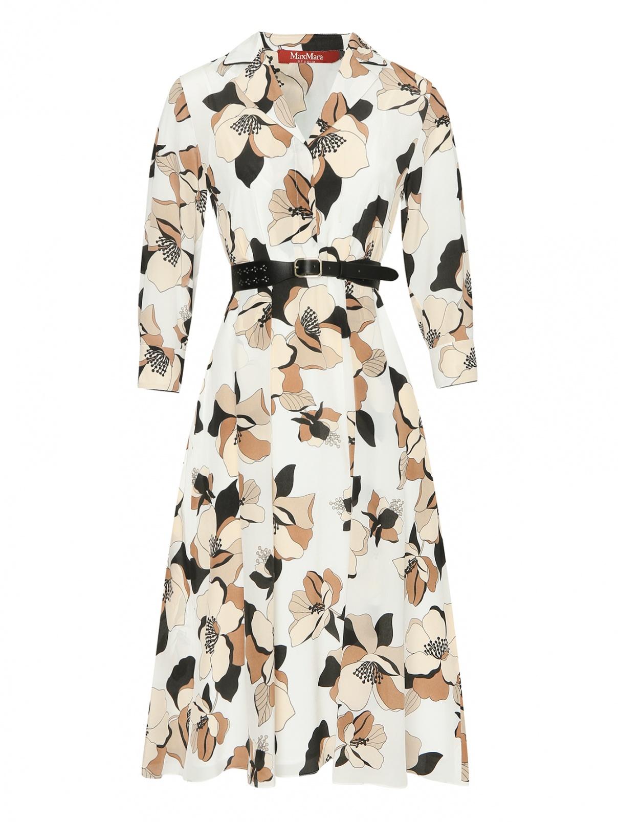 Платье-миди из шелка с узором и поясом Max Mara  –  Общий вид