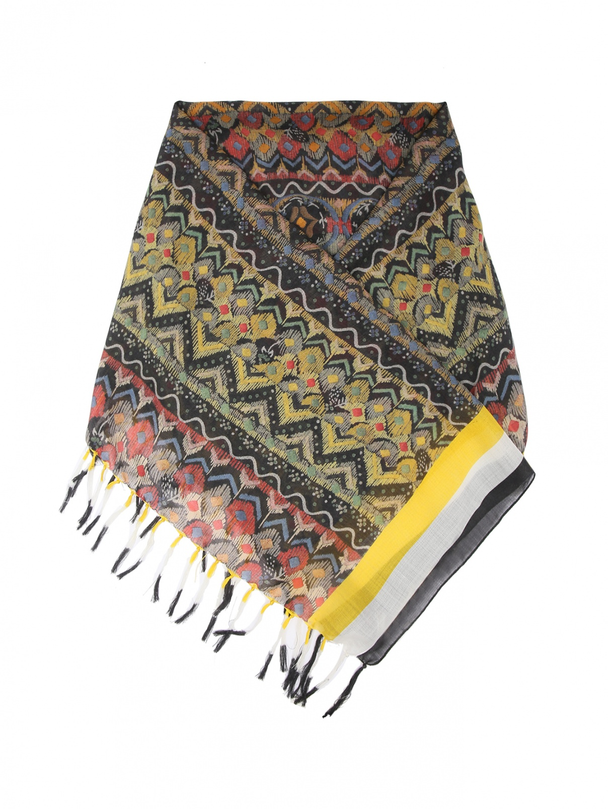 Платок из шерсти и шелка с бахромой Etro  –  Общий вид