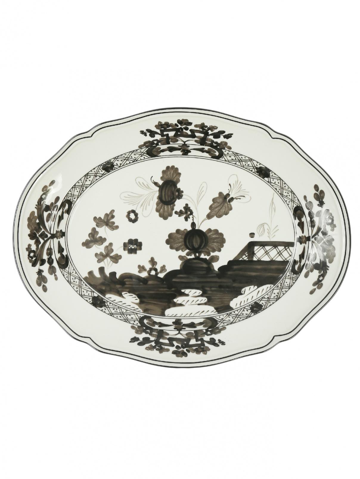 Блюдо овальное  из фарфора с узором и окантовкой Richard Ginori 1735  –  Общий вид