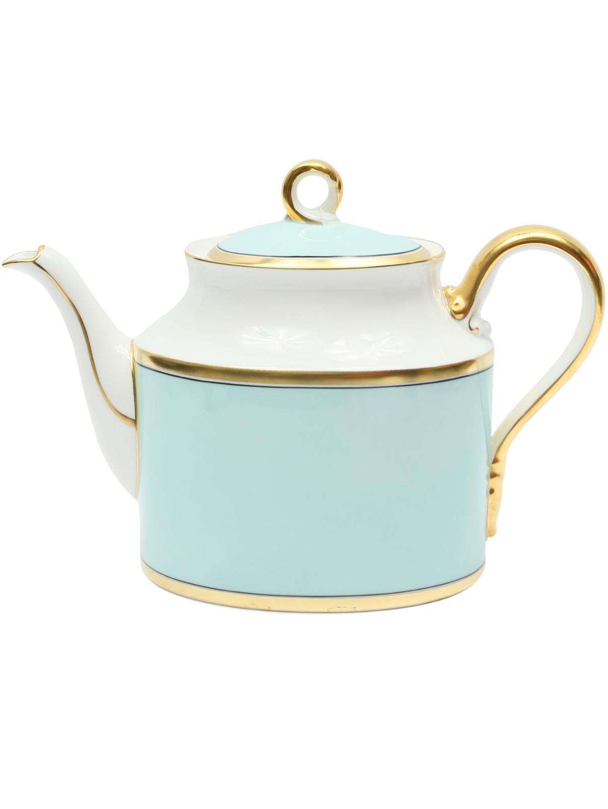 Фарфоровый чайник с золотой окантовкой 11.5 x 17 Richard Ginori 1735  –  Общий вид