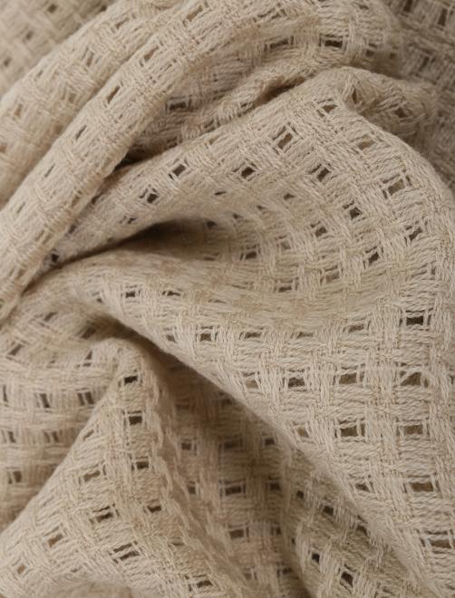 Плед из фактурной шерстяной ткани с бахромой Agnona - Общий вид