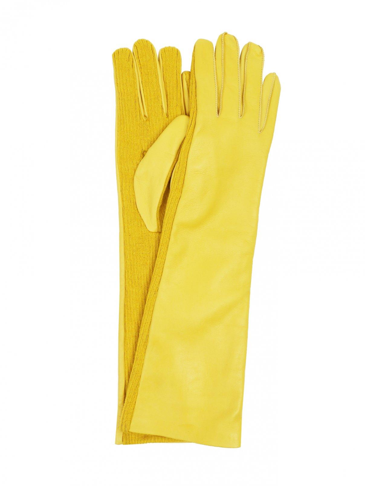 Перчатки длинные из кожи и шерстяного трикотажа Marina Rinaldi  –  Общий вид