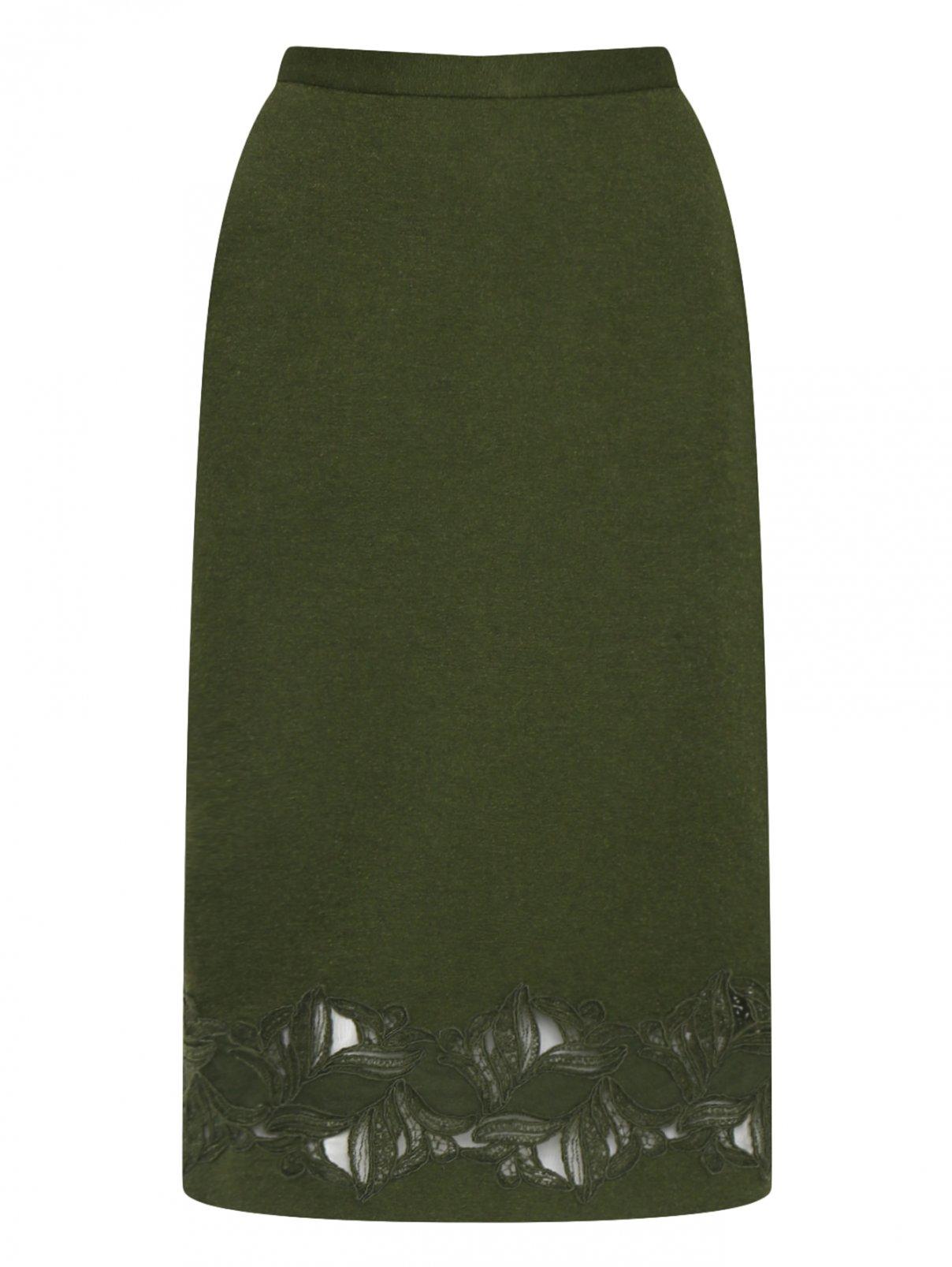 Юбка из шерсти, шелка и кашемира с кружевом Ermanno Scervino  –  Общий вид