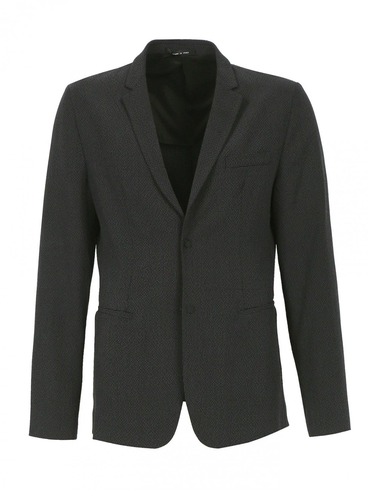 Однобортный пиджак из шерсти и шелка Emporio Armani  –  Общий вид