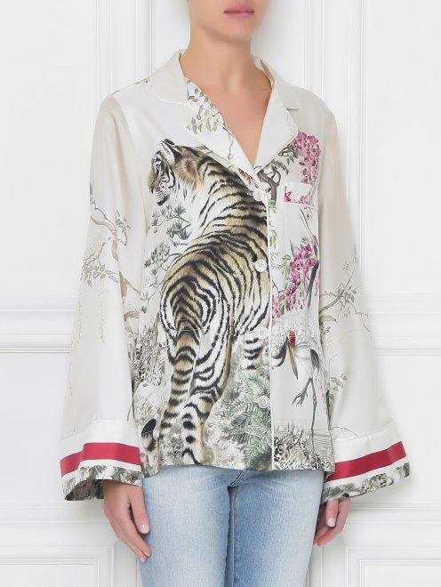 Блуза из шелка с узором - МодельВерхНиз