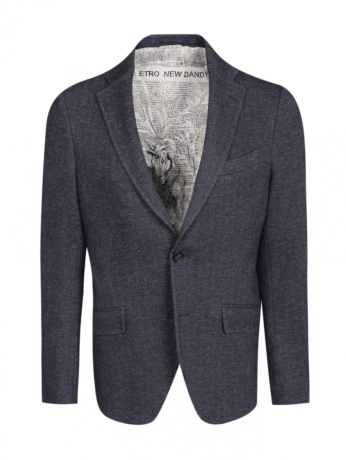 Пиджак однобортный из хлопка и шерсти Etro  –  Общий вид