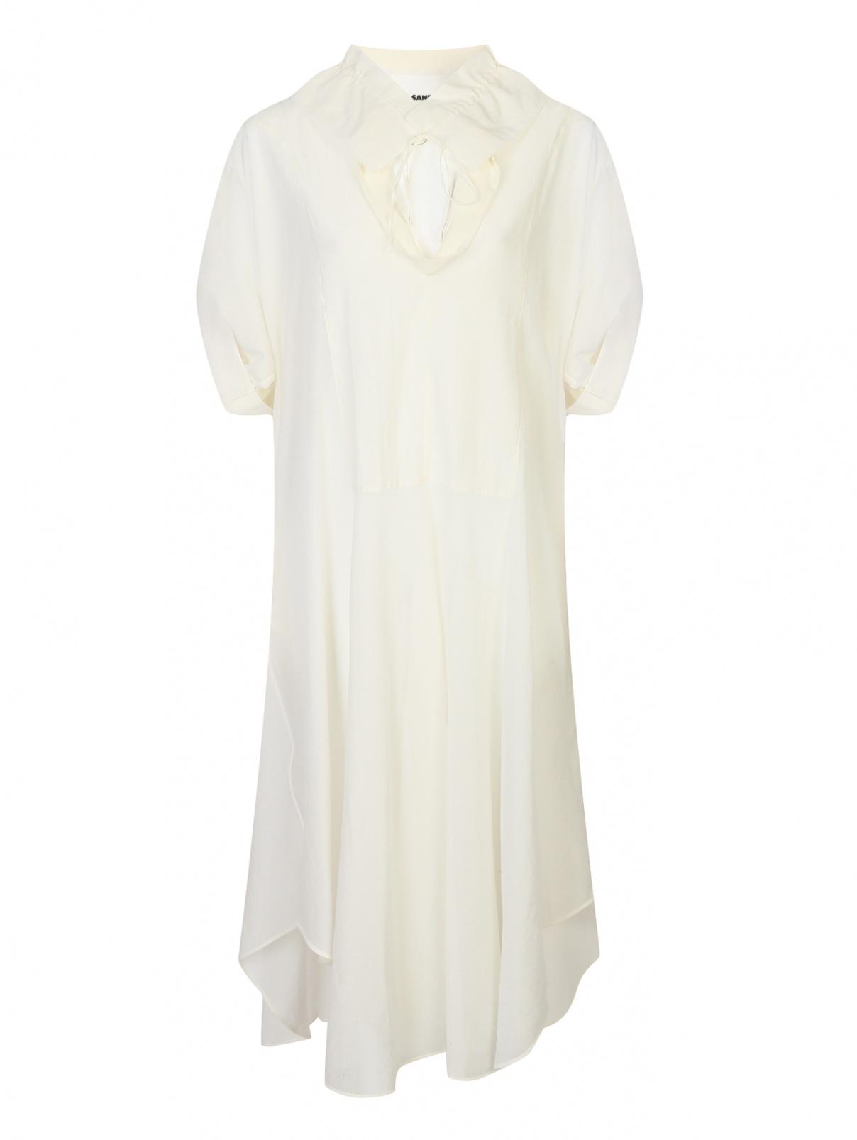 Полупрозрачное платье свободного кроя из хлопка и шелка Jil Sander  –  Общий вид