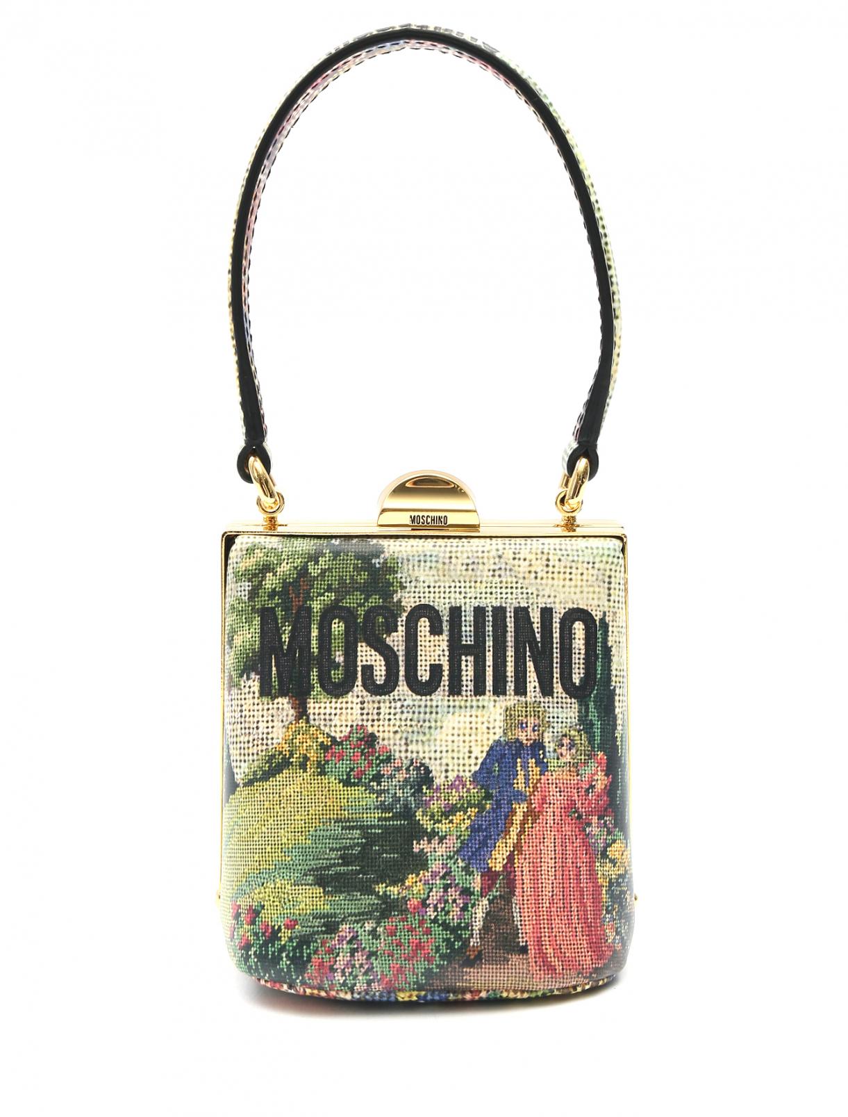 Сумка из кожи с узором Moschino  –  Общий вид