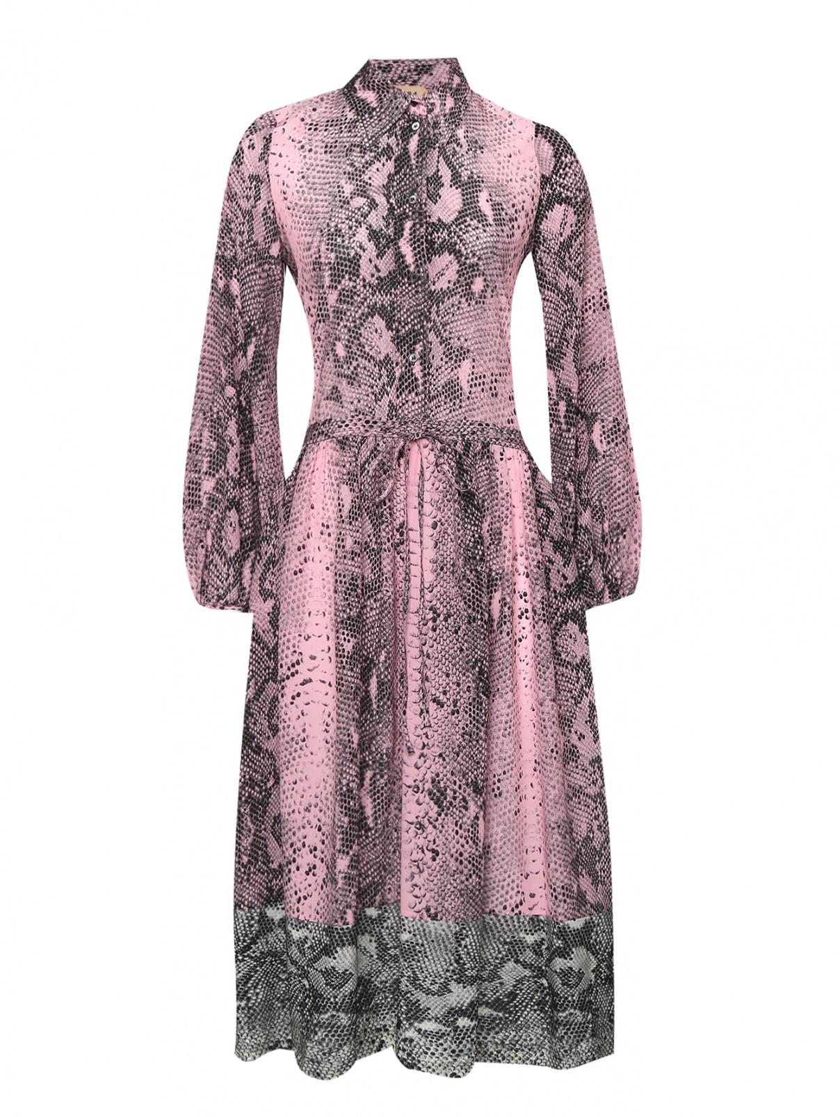 Платье-миди из шелка с узором N21  –  Общий вид