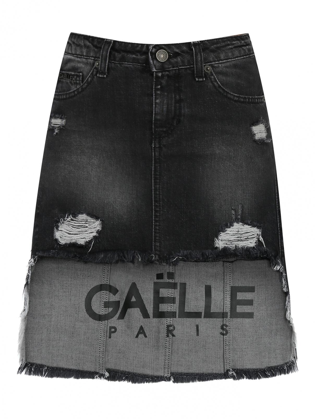 Джинсовая юбка с асимметричным низом Gaelle  –  Общий вид