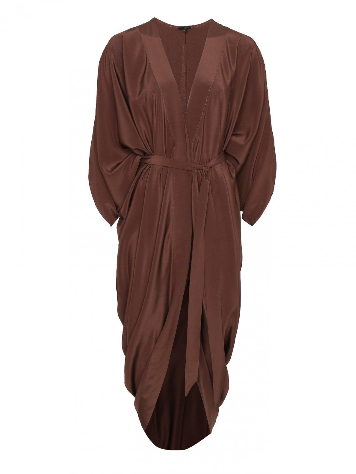 Шелковое платье на кнопках, с поясом THEA  –  Общий вид