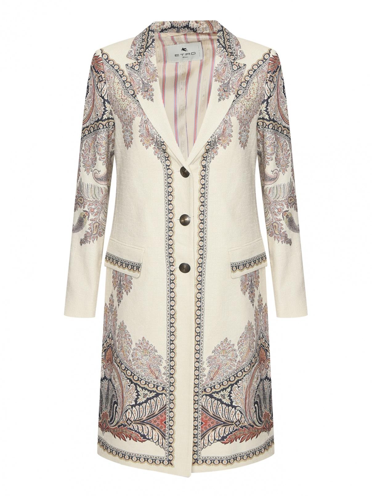 Пальто из льна и шелка с узором Etro  –  Общий вид