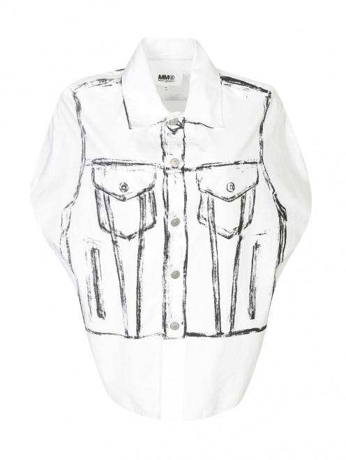 Блуза из хлопка с узором MM6 - Общий вид