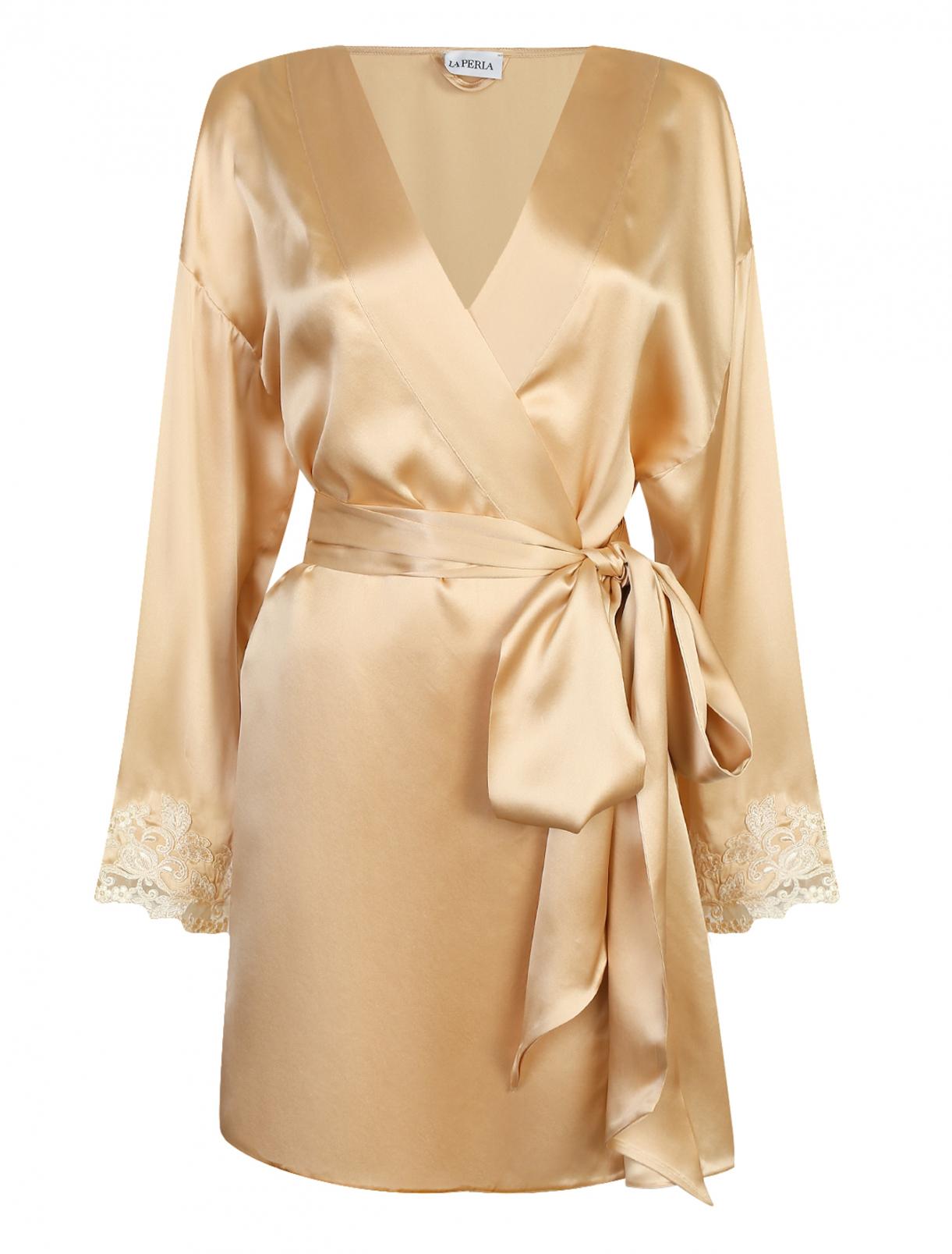Короткий халат из шелка с кружевной отделкой La Perla  –  Общий вид