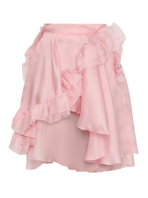 Шелковая юбка с драпировками и воланами - Общий вид