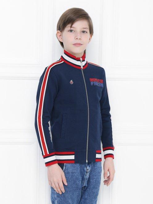 Толстовка хлопковая с вышивкой - МодельВерхНиз