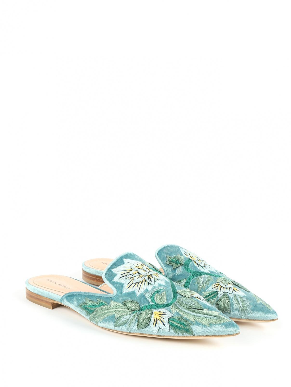 Мюли из кожи и бархата с вышивкой Alberta Ferretti  –  Общий вид